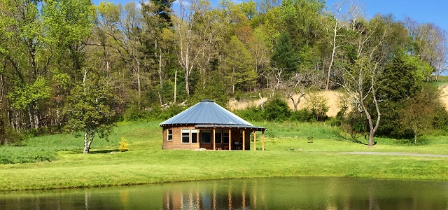 Pond View - our luxury cabins are modern day interpretations of Mongolian yurts