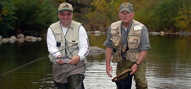 Rose River Farm Head Guide Gary Burwell guiding Virginia LT Gov. Bill Bolling