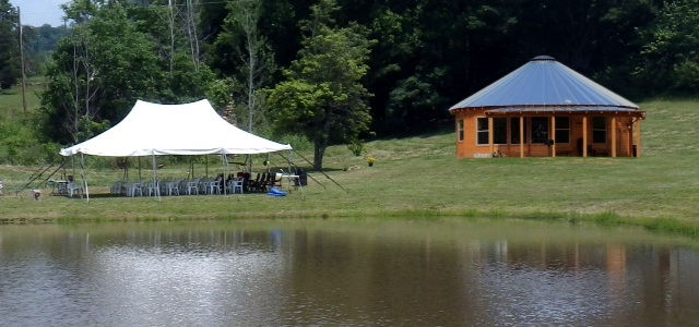 Double peaked tent at Pondview Cabin - perfect for small wedding, reunion or retirement party